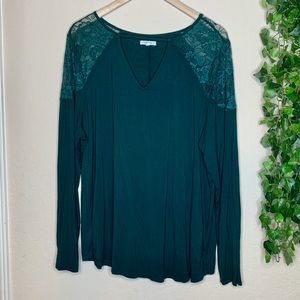 Maurices plus size long sleeve green blouse 2X